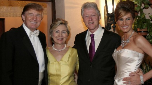 Donald Trump and Melania Trump with Hillary Rodham Clinton and Bill Clinton at Trump's wedding.