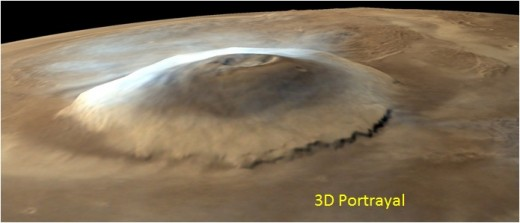 The image shows Olympus Mons, which is a large shield volcano on the planet Mars. PSLV-C25/Mars Orbiter Mission by ISRO.