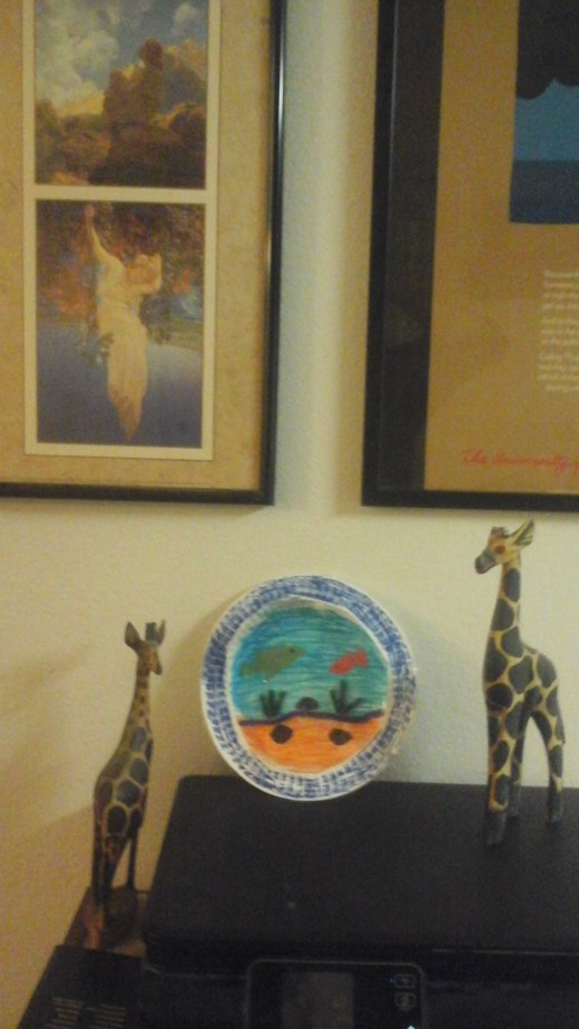 with giraffes and other art