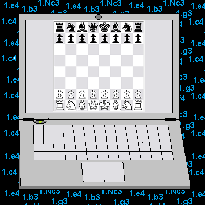 A laptop calculating chess moves.