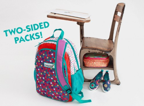 Kids will love Chooze's two-sided backpacks in a variety of designs!