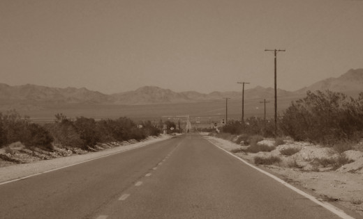 A desert highway in Lucerne Valley, California.