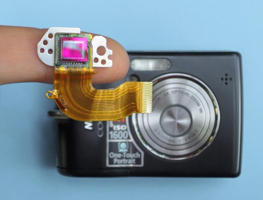 Cameras with small sensors apply a crop factor to the mounted lenses.