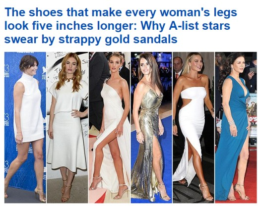 The secret lies in the two thin straps — one low on the ankle, one across the toes. They're so thin that, from a distance, they are almost invisible, creating the illusion of bare feet — and making celebrity legs look five inches longer.