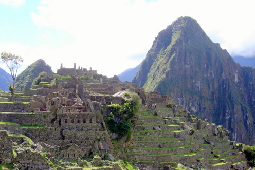 Classic side view of Machu Picchu, Peru.