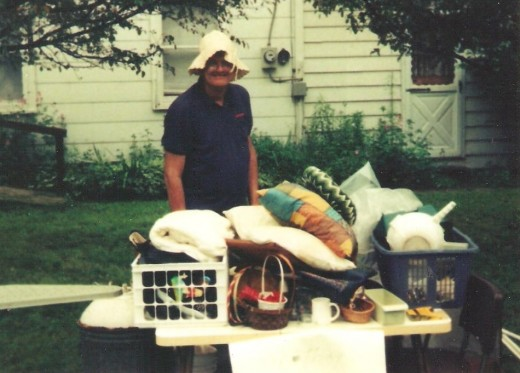 Bill at a free yard sale.