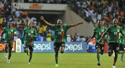 Zambia's players celebrate after winning the 2012 African Cup of Nations. From left to right: Christopher Katongo (captain and tournament's best player), Felix Katongo, Emmanuel Mayuka, Issac Chansa and Nathan Sinkala.