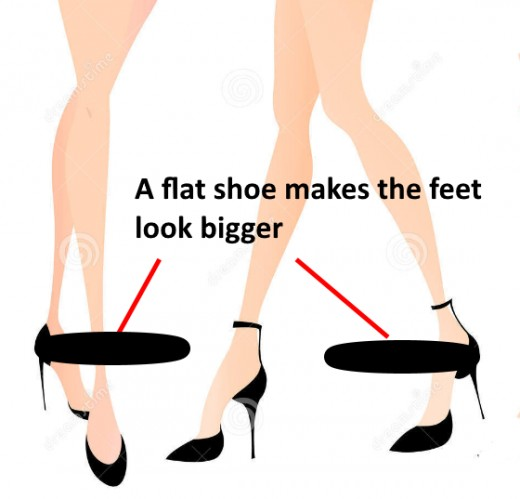 Wearing flat shoes makes your feet look bigger and doesn't do a thing for your legs Wearing heels makes your legs look longer.