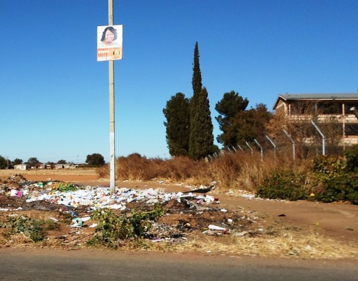 Rubbish all over, especially in black neighborhoods, South Africa