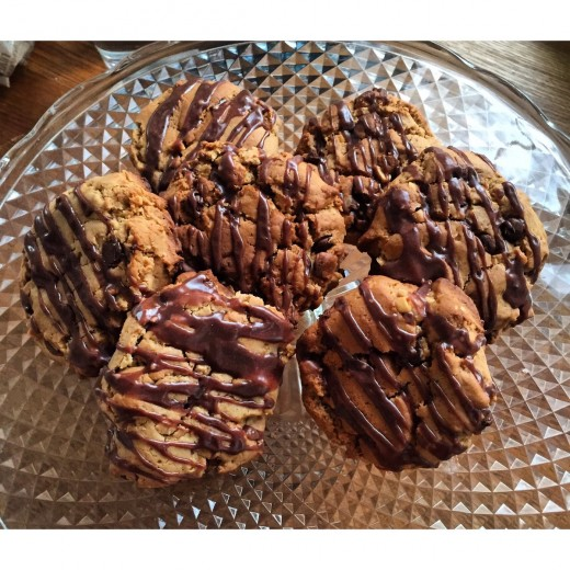 This is how mine looked when finished, I chose to melt chocolate on top of my cookies, this is optional, have fun baking!