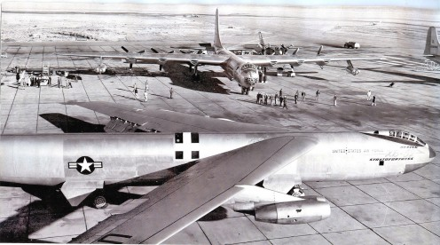 The B-36 and B-47 together on the runway.