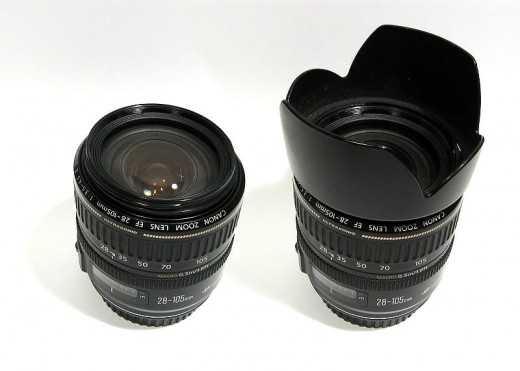 Canon lens with and without lens hood