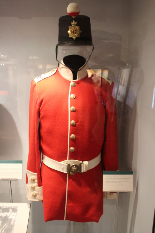 One of the many military uniforms on display at Fort York