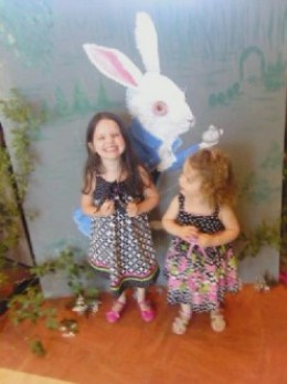 Granddaughters at a Mad Hatter's Tea Party