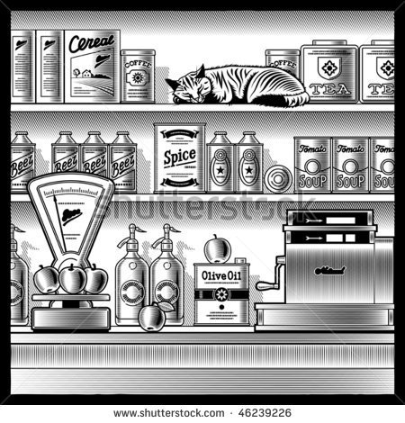 Vintage grocery store graphic