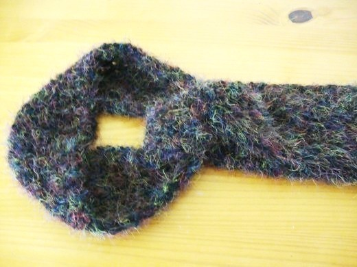 Scarf made with Bernat Frenzy yarn.