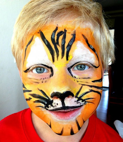 A hand painted tiger mask.