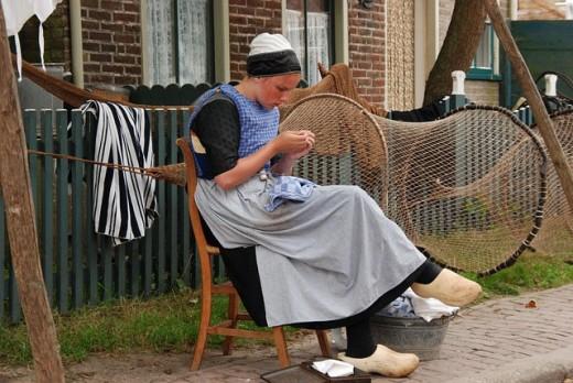 Dutch girl wearing cobblers.