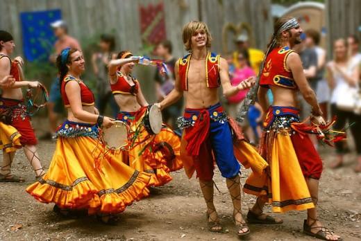 A band of gypsy dancers.