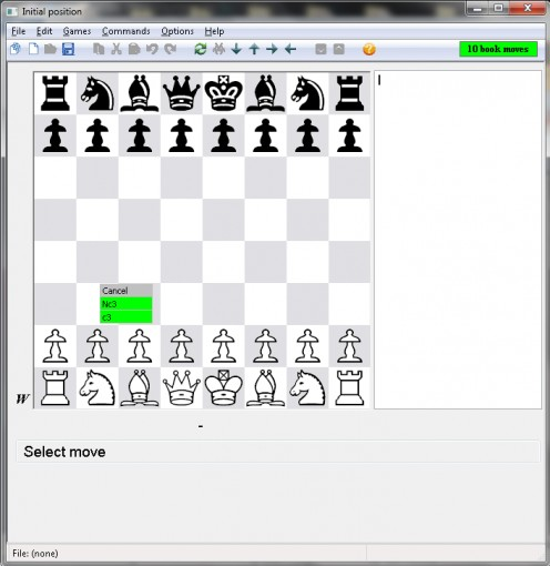 Picture 3-2 - Note the move selection menu