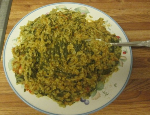 Lentils and rice with cilantro, which is my own interpretation of this dish.