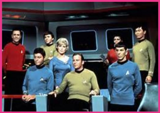 The cast of the original STAR TREK television series, including William Shatner (as Captain James T. Kirk) and Leonard Nimoy (as Mr. Spock), from the late-1960's.