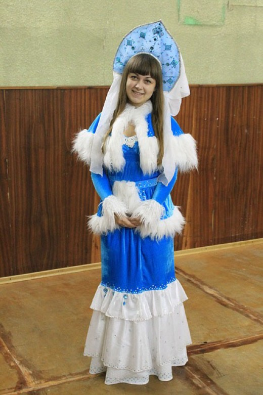 New Year's Eve snow maiden.