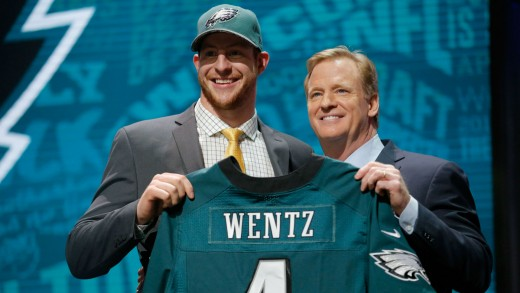 Philadelphia Eagles QB and No. 2 overall draft pick Carson Wentz (L) and NFL Commissioner Roger Goddell (R)