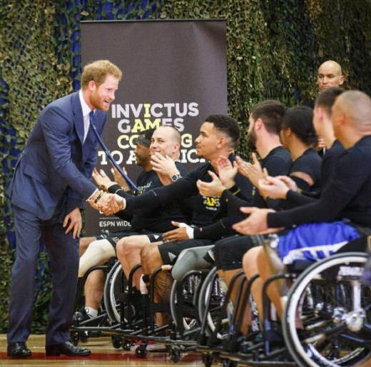 Prince Harry at Fort Belvoir military base in Virginia to meet wounded servicemen and women undertaking recovery and rehabilitation programmes.