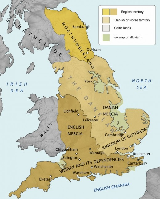 The physical reality of the 9th Century - the eastern part of England was largely waterlogged, allowing the Danes to make inroads well into Deira, Mercia and East Anglia
