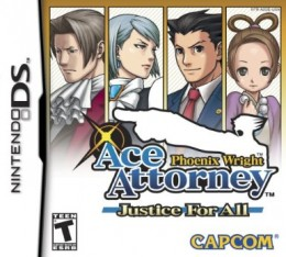 Phoenix Wright: Justice For All Nintendo DS game cover. From left to right: Miles Edgeworth, Franziska von Karma, Phoenix Wright, Pearl Fey