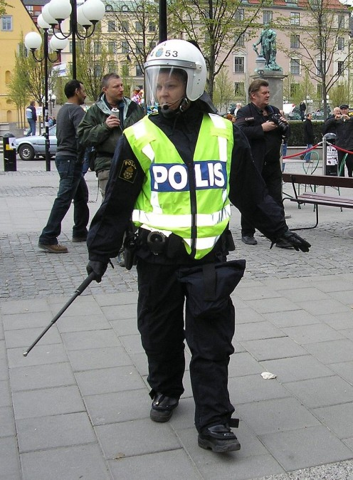 Police person in riot gear