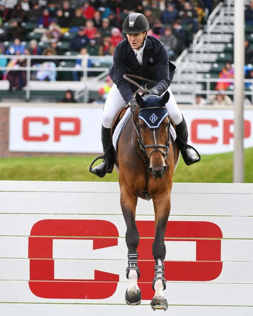 McLain Ward on HH Azur on their way to a second place finish in the CP International, presented by Rolex.