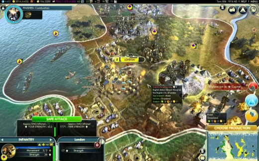 Screenshot of gameplay, from Sid Meier's Civilization V.