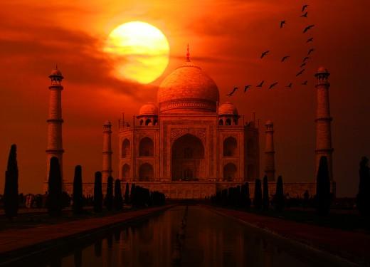 sunset at Taj Mahal in India