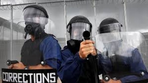 The corrections officers use tasers, mace, tear gas, shields, batons and even lethal weapons if a riot occurs.