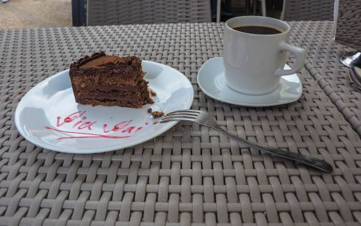 A piece of chocolate cake. Eating the delightful slice in Oaxaca, Mexico!