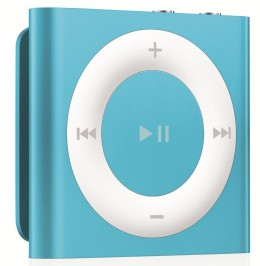 The iPod Shuffle and Sandisk MP3 players may be a bit too small for some kids. Both have holding clips.