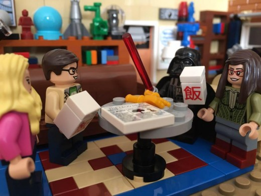 Darth Vader comes for an evening meal with the Big Bang Theory guys