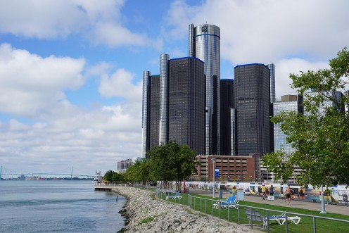 The Waterfront along the Detroit River with the Renaissance Center prominent.