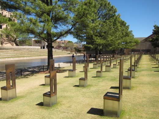 Chairs at the memorial represent the one hundred sixty-seven people who died.