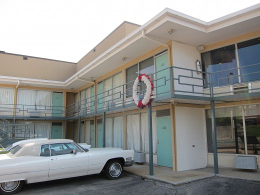 A wreath marks the spot on the Lorraine Motel balcony where Martin Luther King, Jr. was shot.