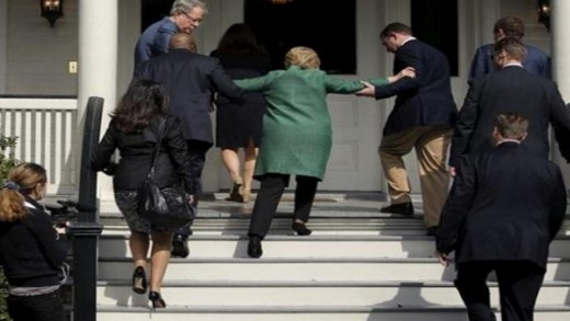 "Hillary Clinton falling ""up"" the stairs.  Her numerous health conditions are being used as her exit strategy to leave the Presidential race and the nation before she's indicted."