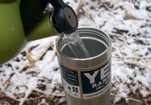 Hot water for tea on a cold day in a Yeti tumbler.