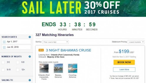Royal Caribbean promises a 30 percent discount on certain cruise for people who book far in advance.