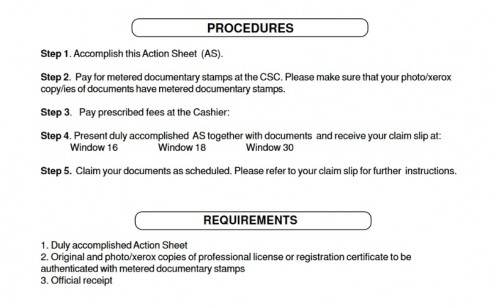 Back of Action Sheet with Instructions
