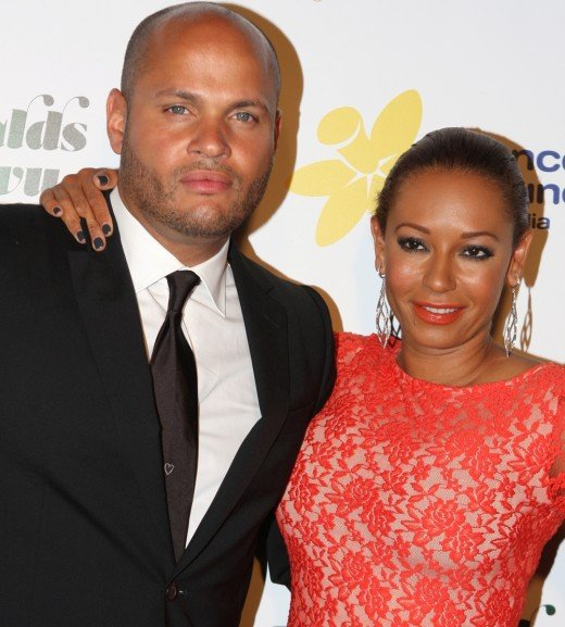 Another black guy with blue eyes is film producer and director Stephen Belafonte — pictured here with Melanie B.