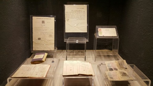 Top left corner showing the then identity card, bottom right corner showing the sailor identity and the rest are important records and documents.