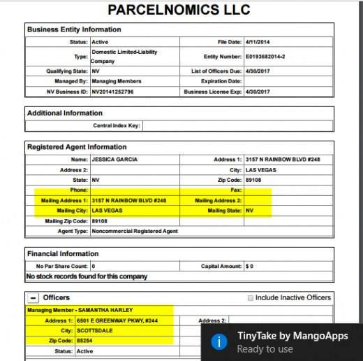 Parcelnomics official record with Nevada. Note the two different names and addresses.