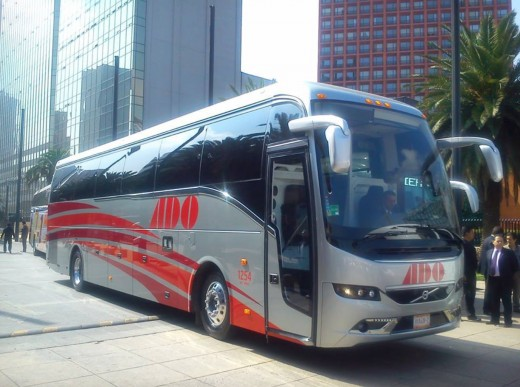 A typical bus for driving long distance in Mexico and Central America.